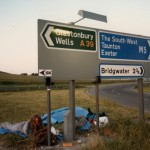 Hitched down from Edinburgh.met a guy with a dog and slept under his tarp on the motorway.