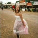 Getting in the spirit of things during my first Glastonbury experience!