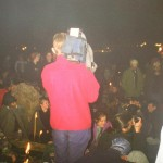 Filming the crowds at the stone circle