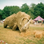 Save the rhino sculpture in the Green Fields