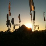 sunset over the pyramid stage