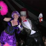 Stilt Walkers Alice Firefly and Gavin Priestley. Lost Vagueness Ballroom stage